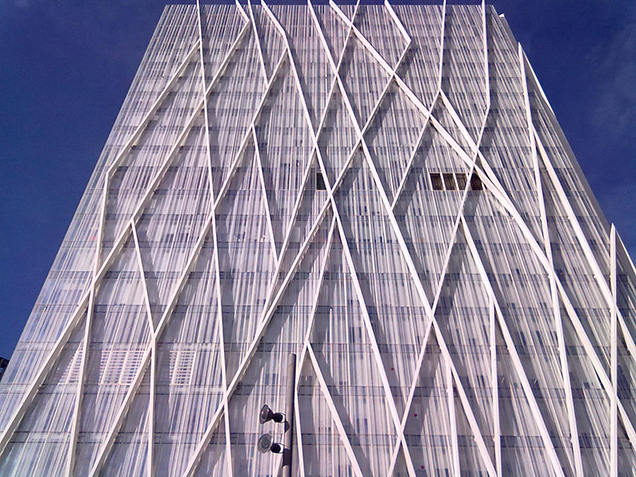 Façade of the Telefonica Tower at Forum Barcelona