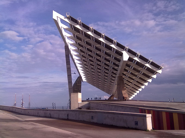 The seaside of Forum Barcelona with a hugh solar collector