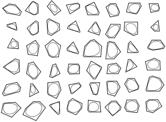 Voroball (sketch for the Meteorite) by Luis Berríos-Negrón and Stephen Form (2009), turned by 90° CW. Parametric model using program for Voronoi surface optimization created by   Barbara Cutler during the Sinthome Workshop directed by Mark Goulthorpe at MIT, 2005.